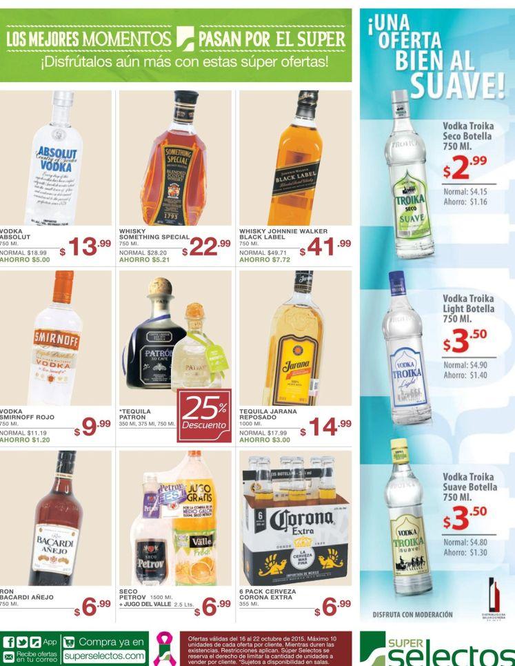 Bebidas alcoholicas con descuentos y ofertas super selectos - 16oct15