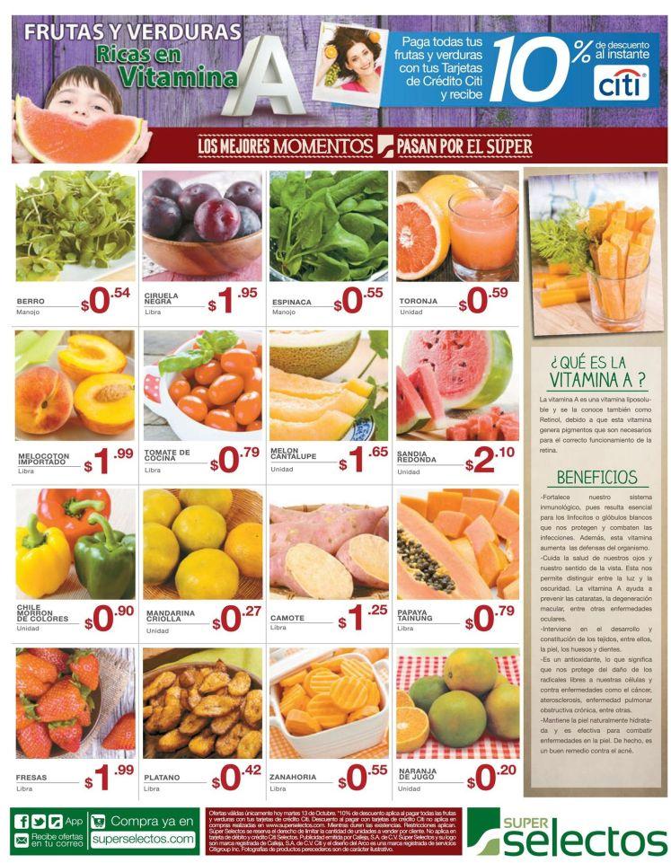 Beneficios de las frutas y verduras con VITAMINA A