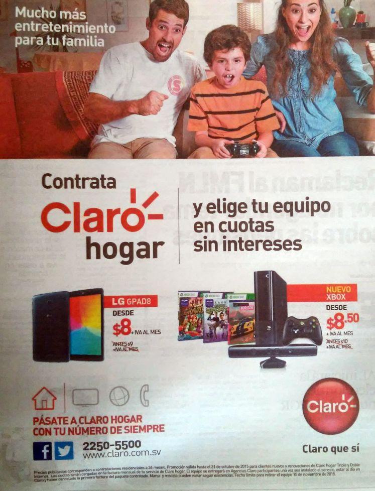 CLARO hogar le da tu familia una tablet o una XBOX