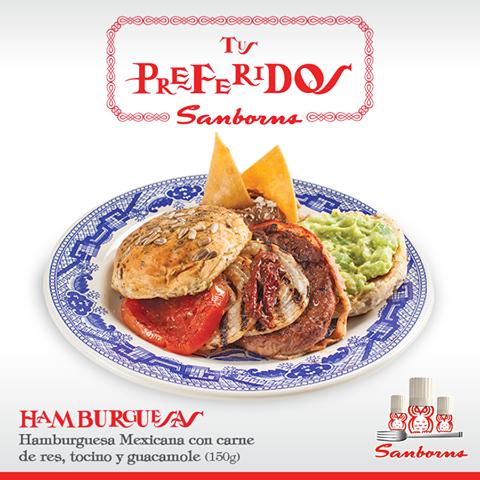 HAMBURGUESAS mexicanas SAMBORNS carne de res tocino y guacamole
