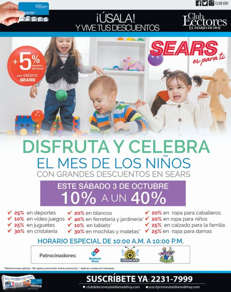 MONTH of children discounts with SEARS