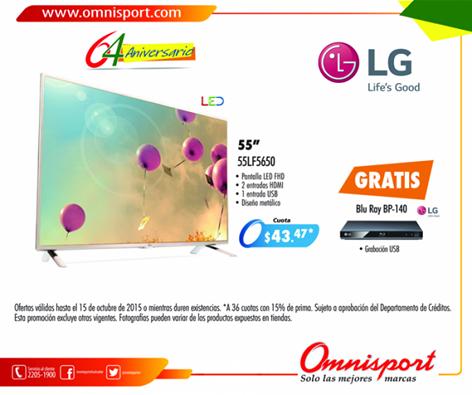 Oferta pantalla LED 55 pulgadas marca LG via OMNISPORT