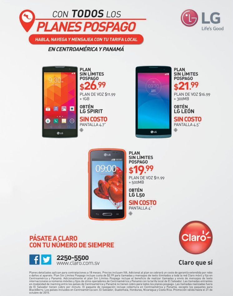 Promociones en telefonos LG planes claro