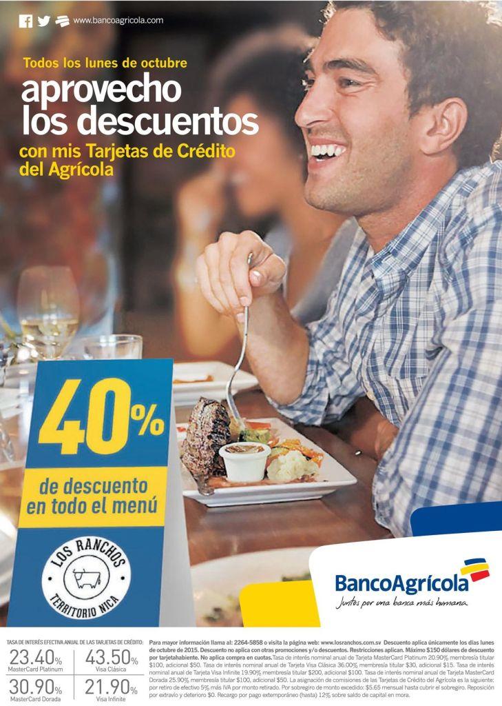 Sacale provecho a los descuentos del banco agricola en restaurantes LOS RANCHOS
