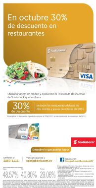 ultima semana con 30 off en restaurantes gracias a SCOTIBANK