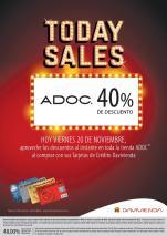 HOY 40 off en tiendas ADOC gracias banco davienda - 20nov15