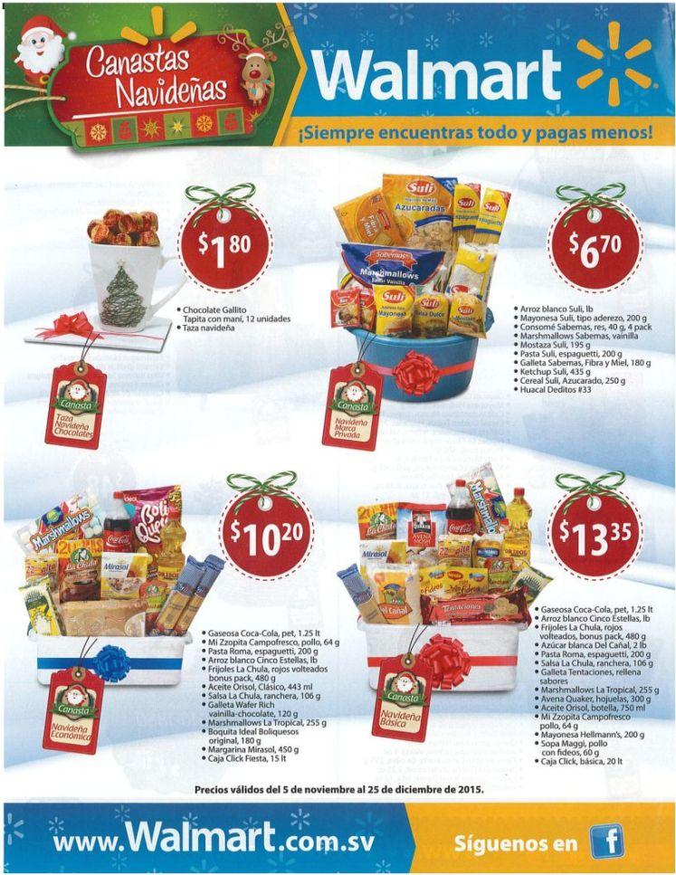 precios y contenido de las canastas navideñas en walmart
