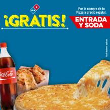 DOMINOS PIZZA promociones entrada y soda GRATIS - 09dic15