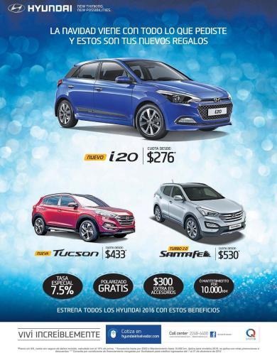 Opciones en carros nuevos 2016 marca HYUNDAI i20 TUCSON and santa fe suv