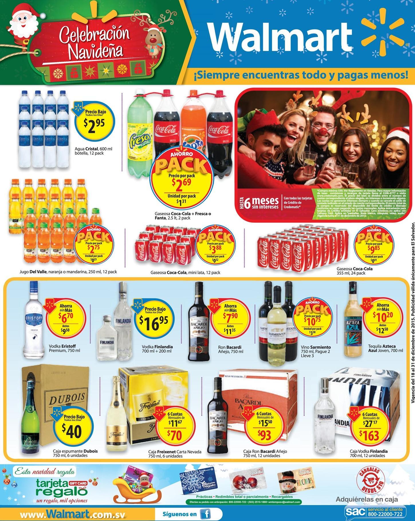 WALMART precios bajos en vinos cervezas jugos gaseosas - 18dic15