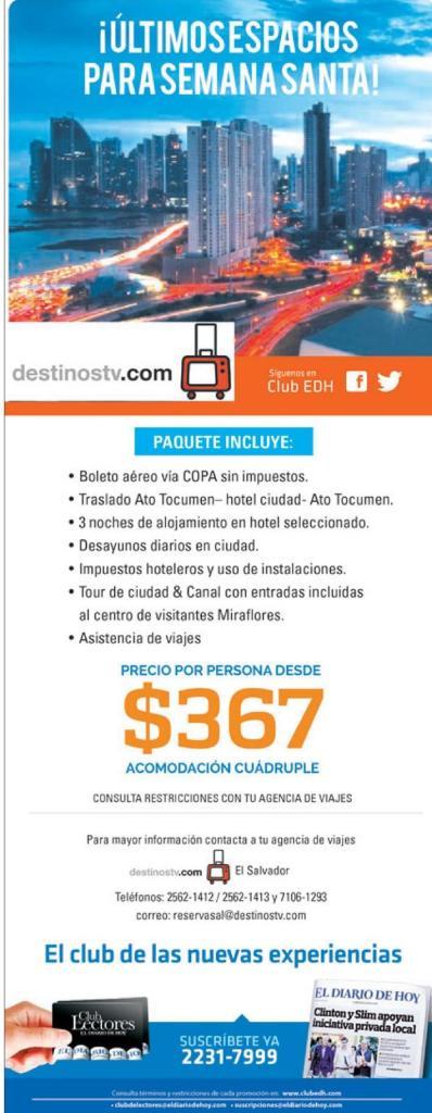 Destinos TV promociones de paquete de semana santa en PANAMA