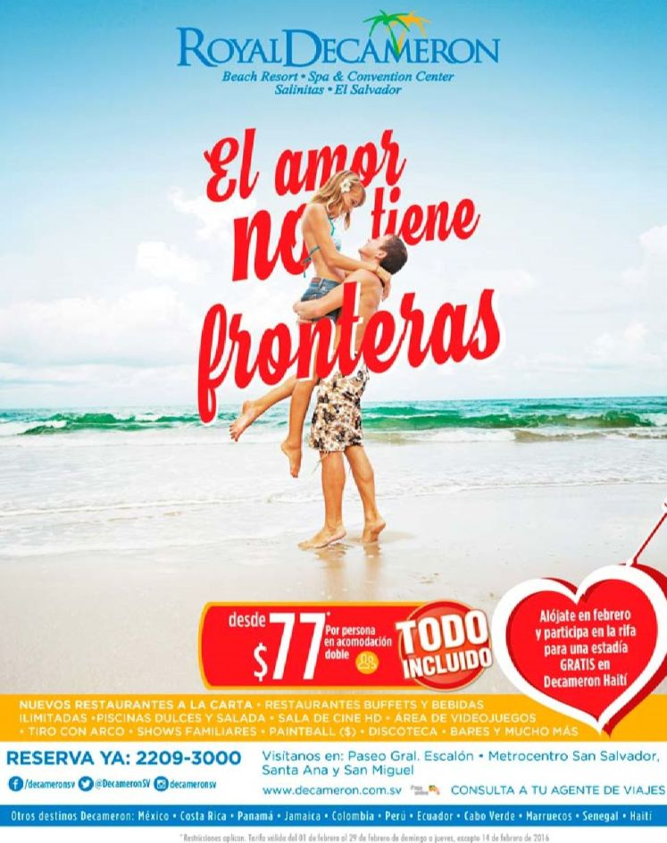 ROYAL DECAMERON promos El amor no tiene fronteras Febrero 2016