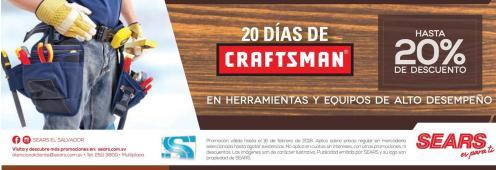 SEARS Atencion 20 dias de descuentos en herramientas CRAFTSMAN 20 OFF