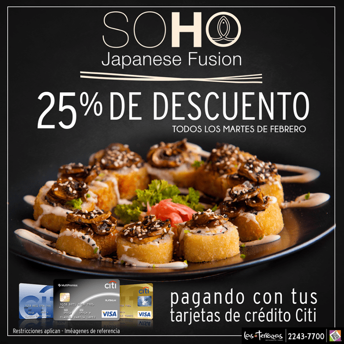 SOHO japanese fusion el salvador 25 off de descuento en FEBRERO 2016