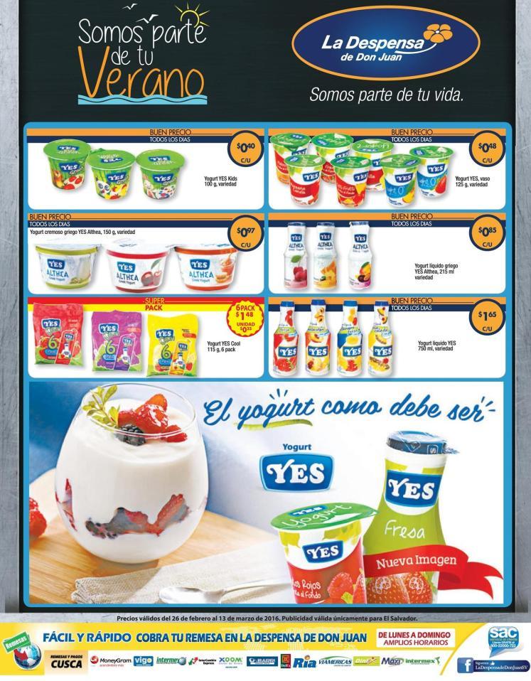 Todo la variedad de YOGURT YES en oferta LA DEPSENSA - 26feb16