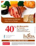 Ahora MARTES 40 off en tu restaurante LA PAMPA - 22mar16