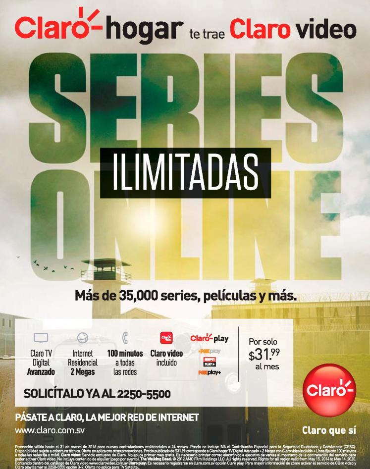 CLARO video on demand el salvador MOVIES ans SERIES