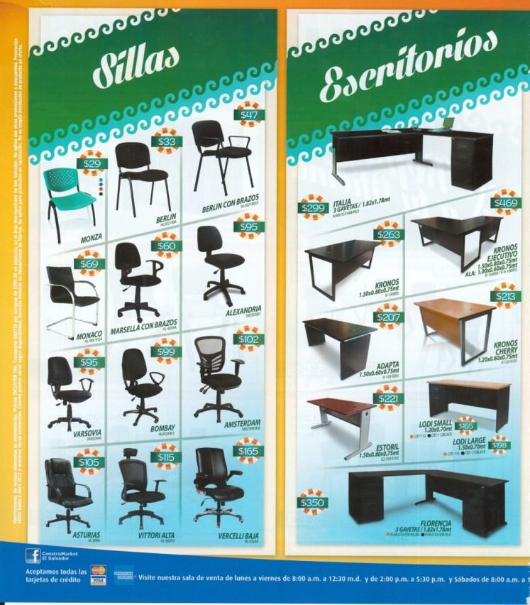 Construmarket el salvador ofertas de sillas y escritortios