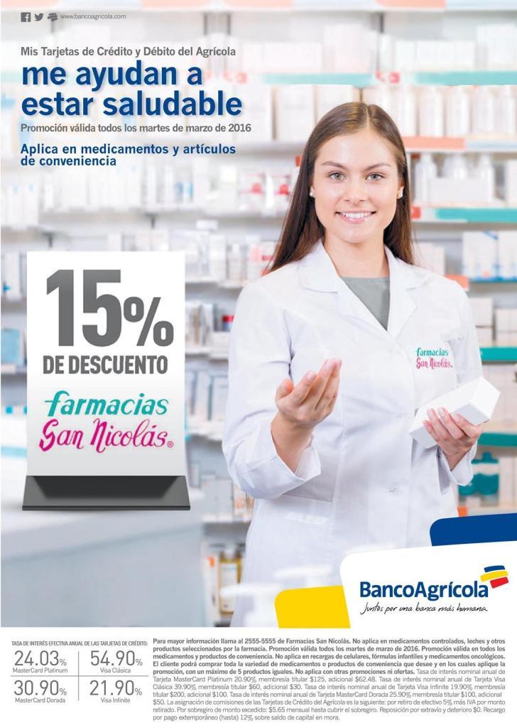 Descuentos en la compra de tus medicanmento con banco agricola en farmacias san nicolas