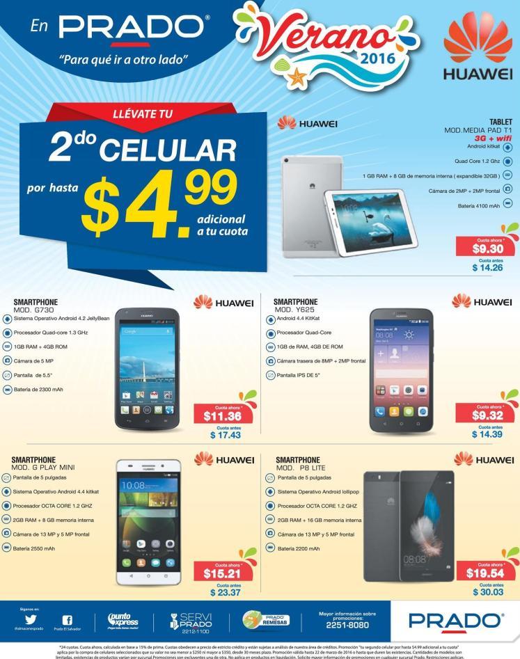 PRADO te ofrece tu segundo celular 4 dolares 99 centavos