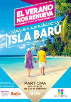 Promocion de vacaciones GALERIAS escalon viaje a ISLA BARU colombia