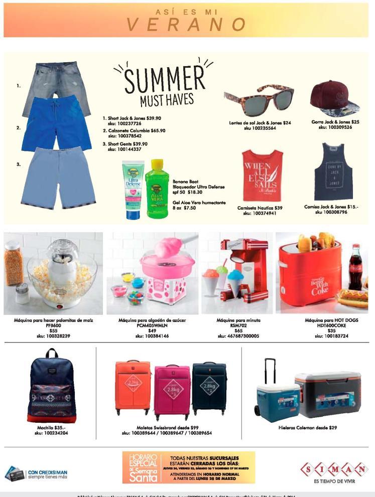 SIMAN ofertas y productos de verano 2016 SUMMER tips