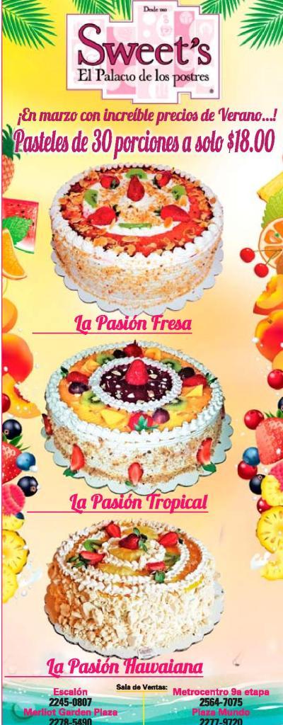 promociones en pasteles SWEETS el palacio de los postres el salvador