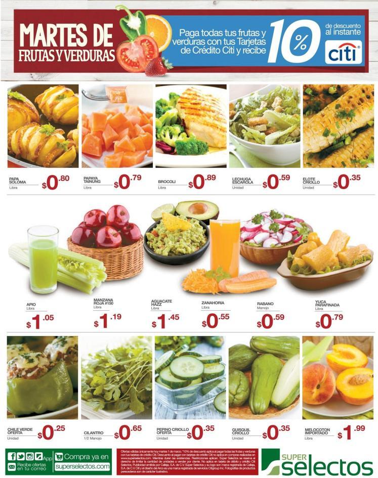 super selectos 10 OFF Paga tus frutas y verduras con CITI bank cards