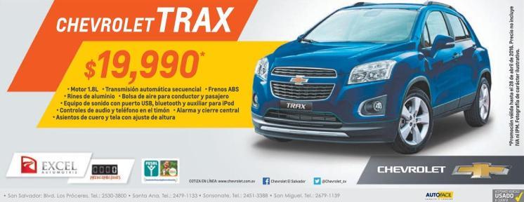 CHEVROLET TRAX 2016 un auto economico y compacto