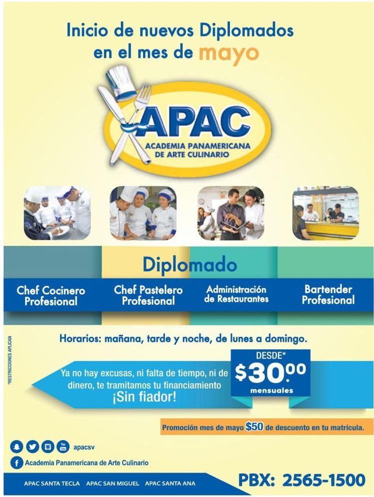 DIPLOMADOS en cocina y chef internacional desde 30 dolares mensuales