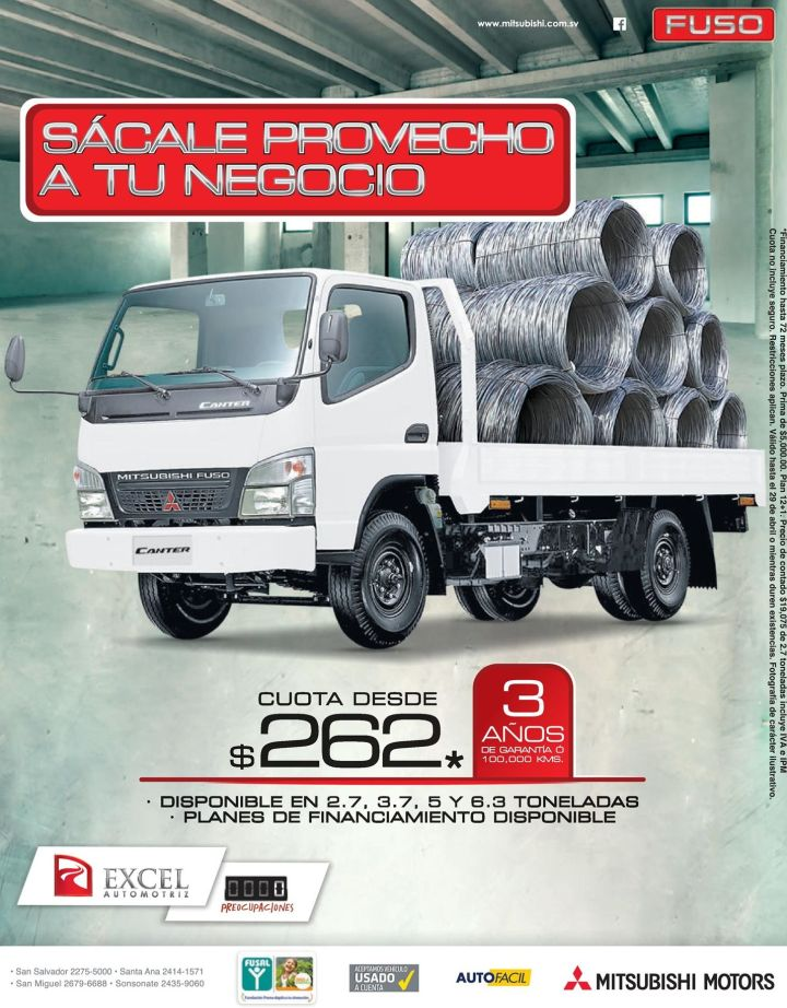 FUSO canter truck by Mitsubishi motors cuota 262 dolares