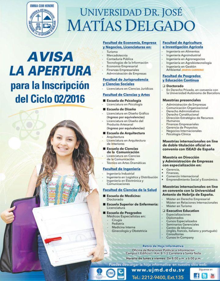 Inscripcion 2016 universidad dr jose matias delgado