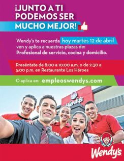 Oportunidad de empleo en el salvador AHORA gracias a Wendys