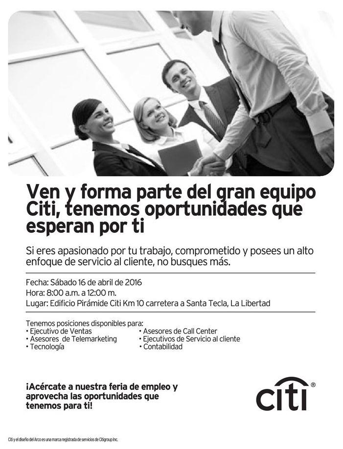 Oportunidades de empleos el salvador gracias a BANCO CITI