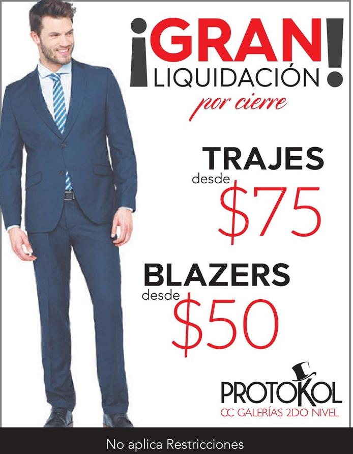 PROTOKOL GRAN liquidacion de trajes y blazer para caballeros - Galerias Escalon