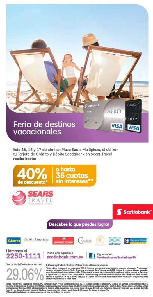 SEARS travel descuentos gracias a banco SCOTIBANK