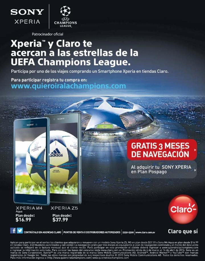 Sony XPERIA series y claro te llevan a ver la champions league