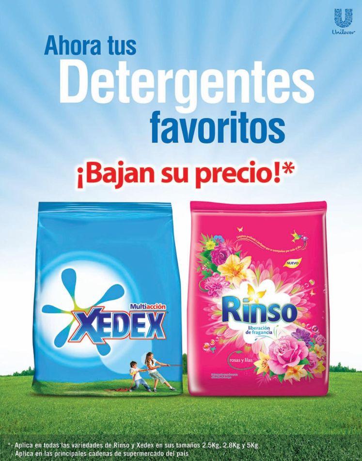 UNILEVER anuncia precio bajo en detergentes XEDEX y RINSO