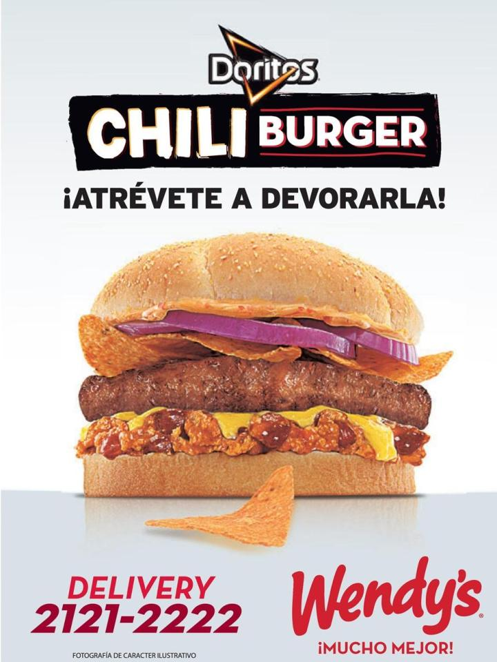 new BURGER Doritos chili de wendys el salvador