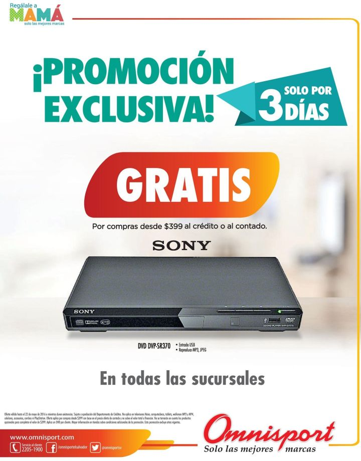 3 dias exclusive promotion DVD player SONY free