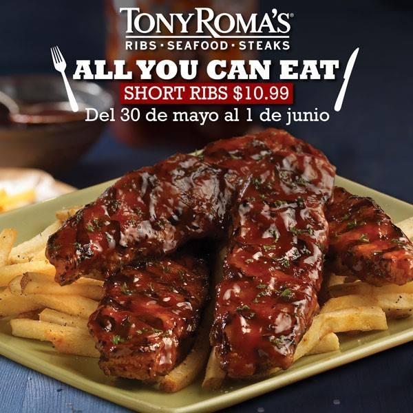 Todas las costillas que podas comer en TONY ROMAS por 10 pesos con 99 ctvs