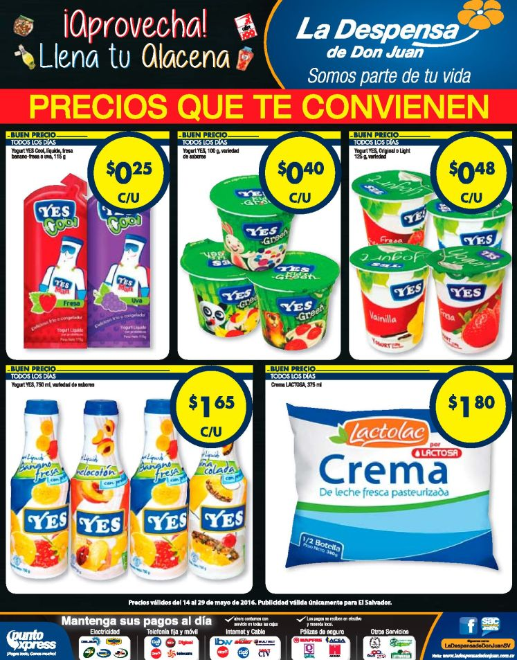 Yogurt y Crema en promocion La Despensa de don juan - 14may16