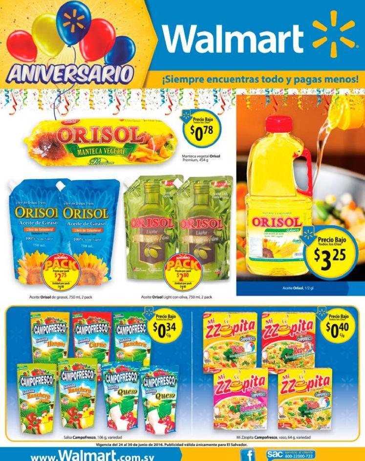 Aniversario de WALMART con precios rebajados en aceites sopitas y salsitas