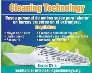 Cleaning Technology JOBS laborar en barcos crucerso en el extranjero