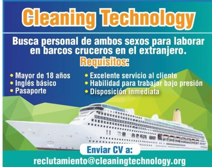 Cleaning Technology JOBS laborar en barcos crucerso en el extranjero