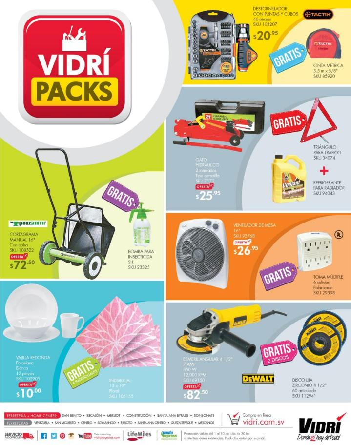 Folleto de ofertas VIDRI packs deals JULIO 2016