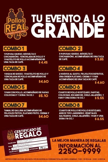 MENU y combos para eventos pollo real