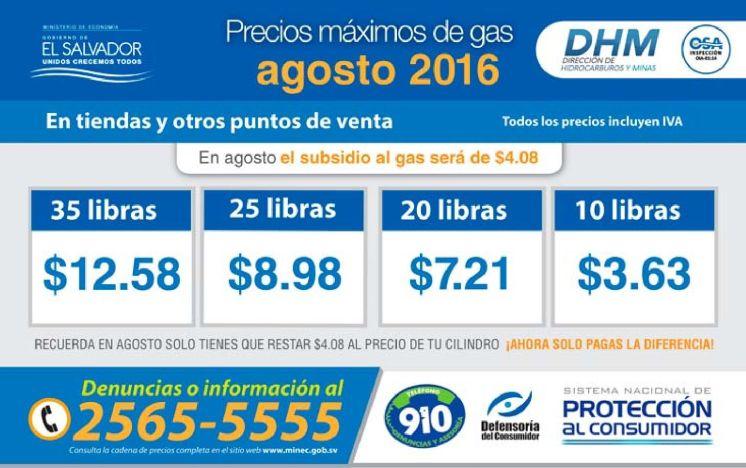 Cuales son los precios del gas para agosto 2016