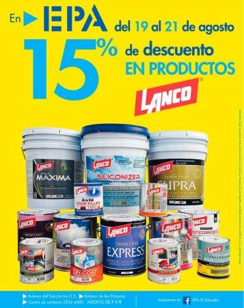 EPA promociones de FIN DE semana con 15 OFF en prodcutos LANCO premium quality