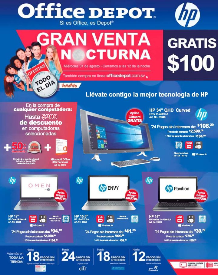 Ofertas todo el dia OFFICE DEPOT nightly deals